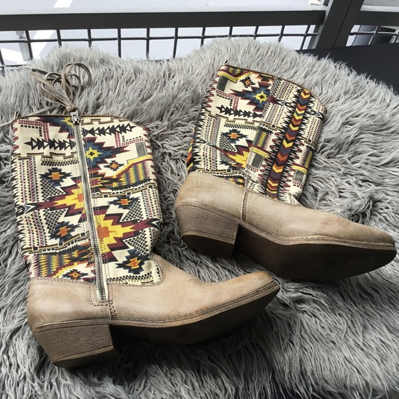 f8bc49bd236 Big Buddha Shoes | 24hr Aztec Patterned Cowgirl Boots | Poshmark